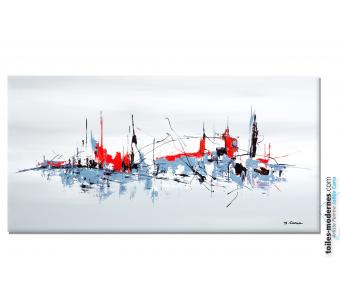 Tableau gris blanc abstrait La grande cité moderne