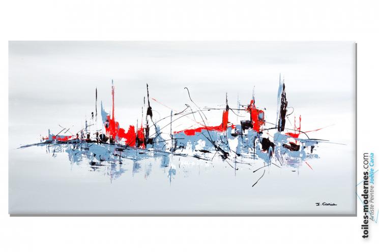 Tableau gris blanc moderne pour faire une d co design format panoramique l - Faire un tableau moderne ...