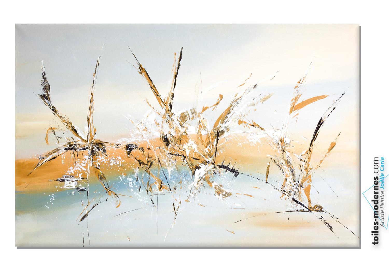 Tableau gris beige abstrait les insectes moderne - Grand tableau contemporain ...
