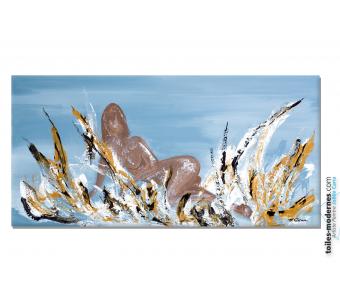 Tableau gris marron abstrait Flamme sensuelle moderne