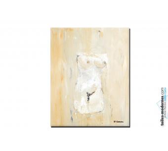 Tableau femme nu beige marron taupe moderne Suggestion