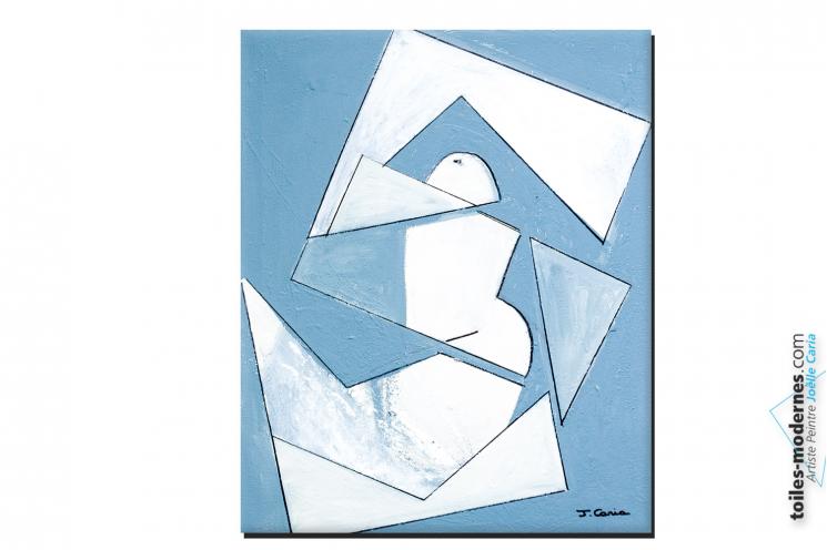 Tableau nu gris blanc taupe  Femme adéquate peinture surréaliste