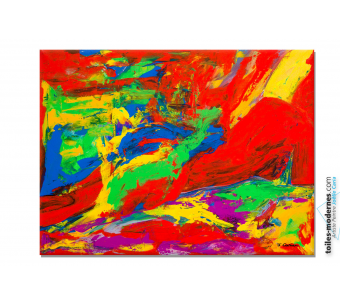 Tableau nu abstrait coloré : Femme allongée