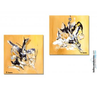 Tableau marron jaune diptyque abstrait Un air d'automne moderne