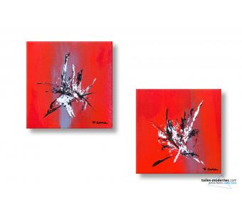 Les 2 tableaux rouge vif abstrait Magie créations contemporaines uniques
