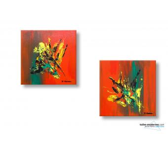 Tableau orange rouge diptyque abstrait  Insouciance moderne