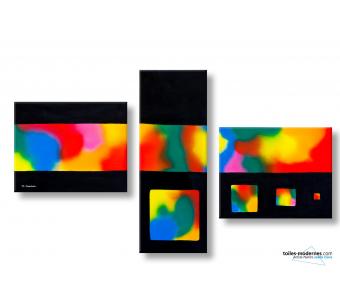 Tableau triptyque achat de tableaux triptyques en 3 - Tableau colore design ...