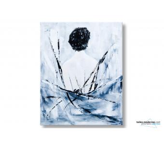 Grand tableau gris design Femme nue de dos peinture unique