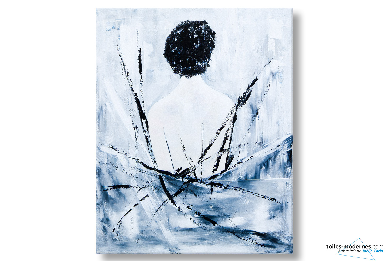 Grand tableau gris design Femme nue de dos peinture unique ... e1528a2b2578