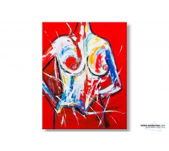 Tableau seins nus art contemporain Fascination hypnotique format XXL
