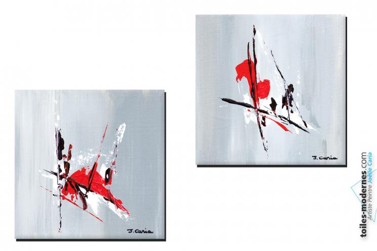 Tableaux design gris rouge abstrait Scintillation créations uniques 30 euros les 2