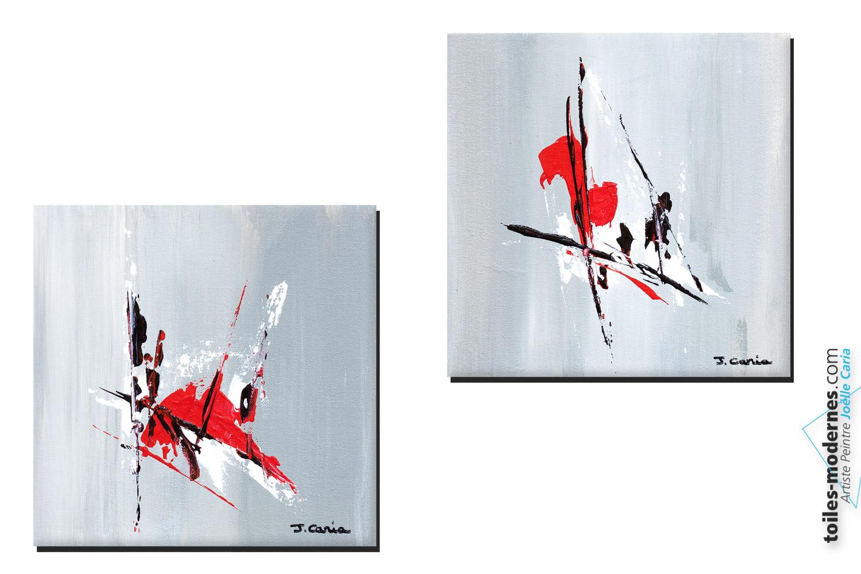 Attractive tableau rouge et gris 8 tableau diptyque for Decoration salon rouge noir blanc