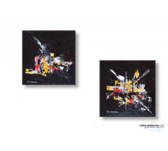 2 tableaux design noir rouge abstrait Fiesta nocturne pour 30 euros seulement