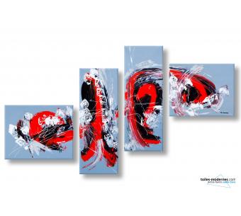 Tableau gris quadriptyque abstrait Frénésie moderne