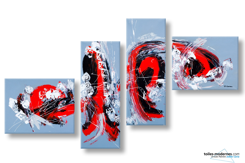 Un tr s grand tableau panoramique quadriptyque gris design - Tableau d art moderne ...