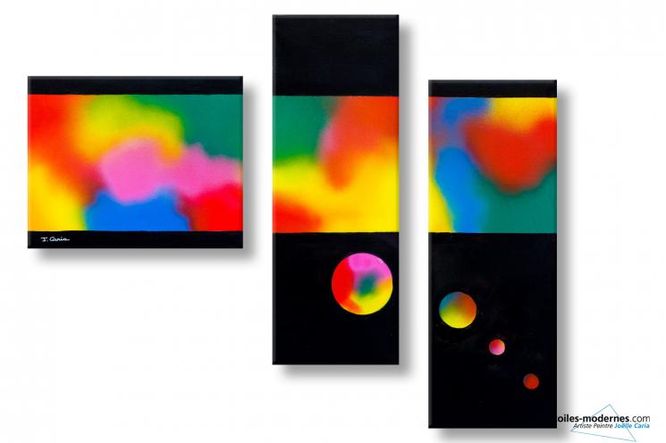 Tableau triptyque coloré abstrait Antithèse