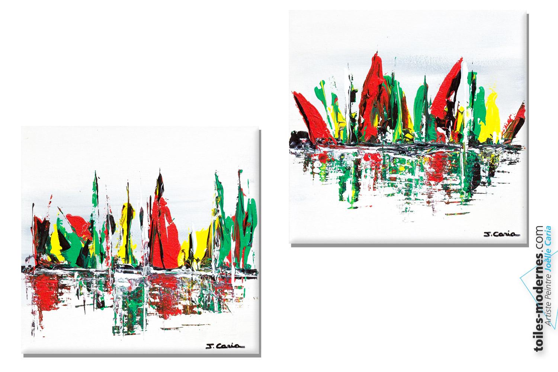 tableaux color s pleines voiles 2 cr ations abstraites carr d 39 artiste d 39 artiste contemporain 30. Black Bedroom Furniture Sets. Home Design Ideas