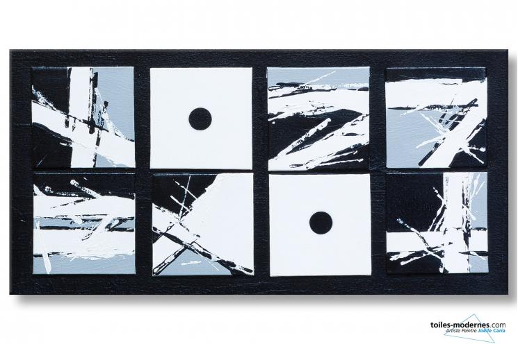 Tableau design noir et blanc abstrait La sémiotique