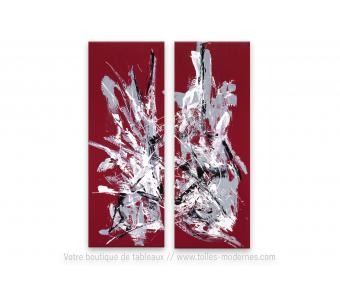 Création unique rouge bordeaux : Effusion, art contemporainn