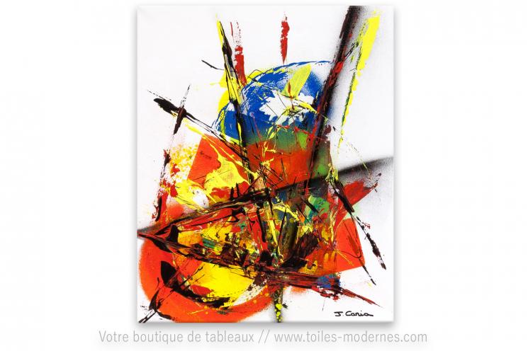 Tableau blanc et coloré moderne : une vie trépidante