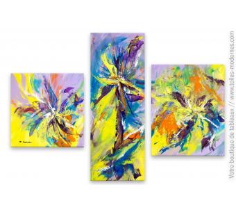 Création colorée contemporaine : Suite florale
