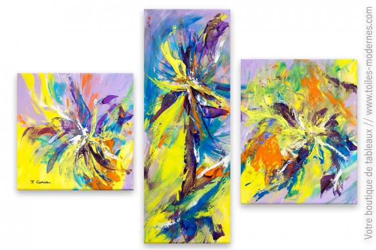 Tableau abstrait coloré : Suite floral