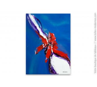 Tableau bleu abstrait : Faune aquatique