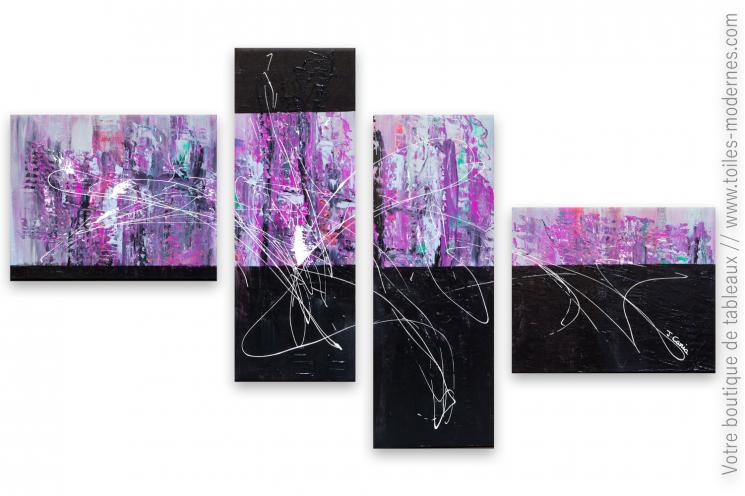 Tableau violet contemporain : Rêve mystérieux