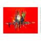Tableau rouge abstrait Coucher de soleil à la campagne