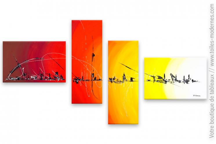 Tableau multicolore abstrait Un voyage coloré