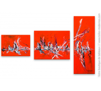 Tableau triptyque rouge Chaleur caniculaire
