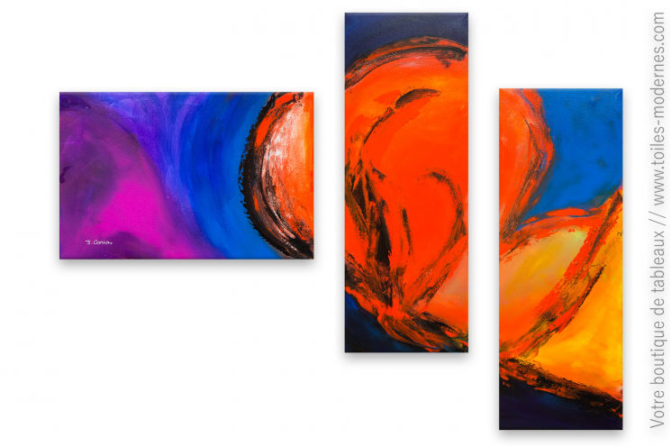 Triptyque coloré création moderne : Fusion