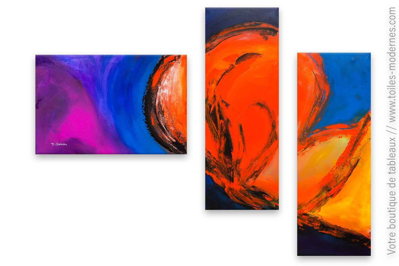 Tableaux Modernes Triptyque Color Triptyque Contemporain Pas Cher
