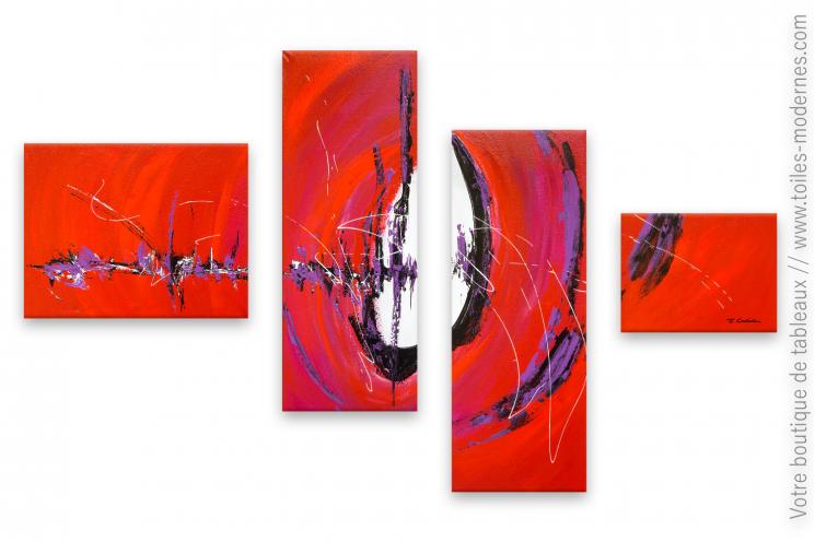 Grand tableau rouge quadriptyque déco moderne : Résonance