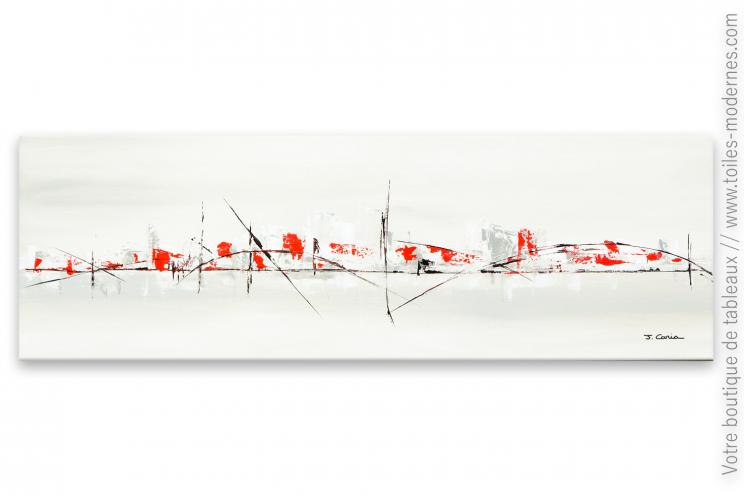 Tableau gris taupe contemporain format panoramique XXL Ville lointaine