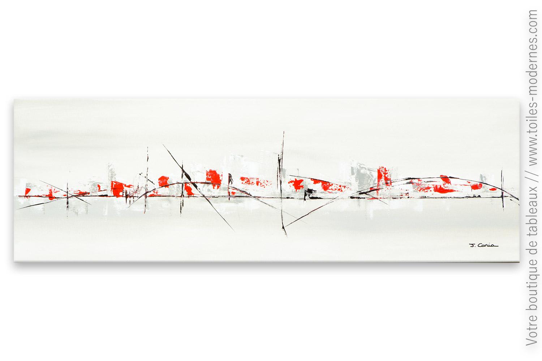 Cr ation gris taupe contemporain ville lointaine for Tableau contemporain grand format