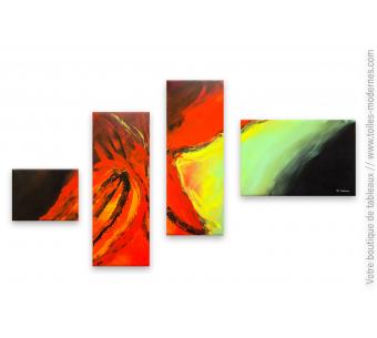 Déco colorée tableau quadriptyque Bouillonnement