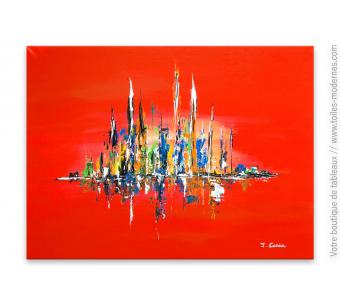 Toile rouge création moderne : Paysage coloré