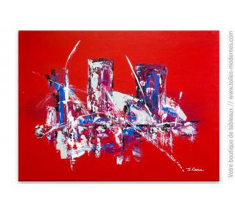 Tableau rouge contemporain : Une ville fascinante