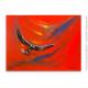 Déco design minimaliste tableau rouge L'aigle noir