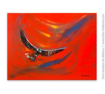 Tableau rouge design L'aigle noir