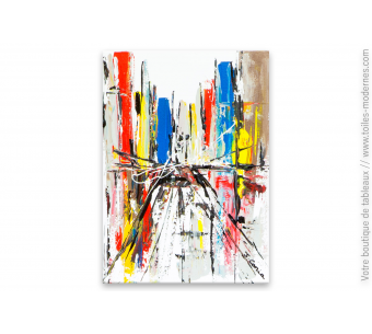 Tableau coloré fond blanc art contemporain : Wall Street