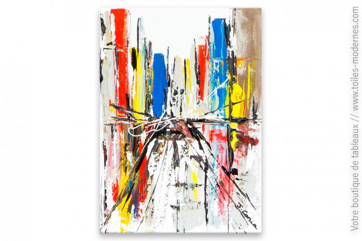 Tableau coloré fond blanc art contemporain : Wall Street