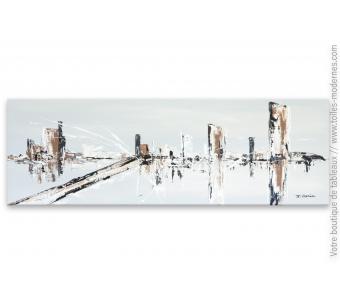 Déco au-dessus d'un meuble : tableau gris et marron le grand pont