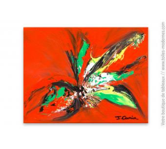 Tableau rouge thème fleurs : Invitation