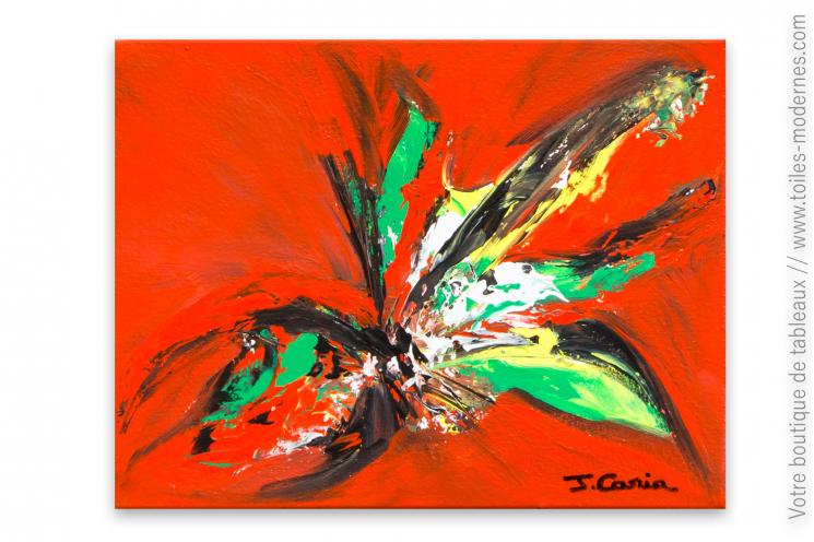 Peinture sur toile rouge thème fleurs : Invitation