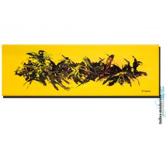 Tableau jaune abstrait : Une vie florissante