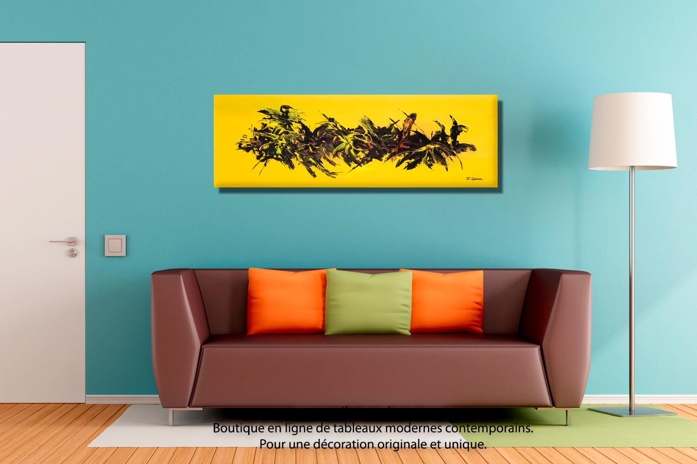 Tableau jaune abstrait une vie florissante for Tableau de salon