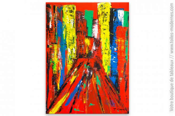 Décoration murale rouge tableau décoratif : New York