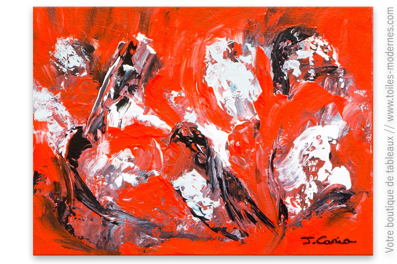 Tableau rouge abstrait : Hallucination